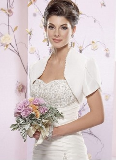 Short Sleeve Taffeta Wedding Wrap (01305017005)