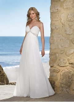 Empire Strapless Sweetheart Floor-Length Chiffon Wedding Dress With Ruffle Beading