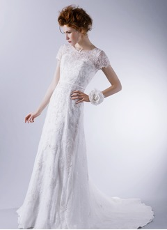 A-Line/Princess Scoop Neck Sweep Train Satin Lace Wedding Dress With Lace Appliques Lace
