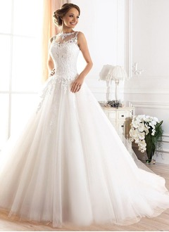 Ball-Gown Scoop Neck Court Train Tulle Wedding Dress With Appliques Lace