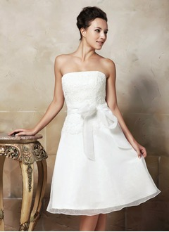 A-Line/Princess Strapless Knee-Length Organza Satin Wedding Dress With Lace Bow(s)