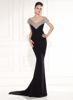 Trumpet/Mermaid V-neck Court Train Chiffon Evening Dress With Beading