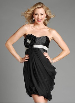 Sheath/Column Strapless Sweetheart Short/Mini Chiffon Taffeta Prom Dress With Ruffle Beading Flower(s)