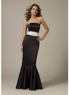 Trumpet/Mermaid Strapless Sweep Train Satin Bridesmaid Dress With Sash Bow(s)