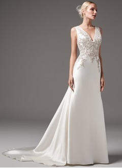 A-Line/Princess V-neck Chapel Train Charmeuse Wedding Dress With Lace Beading