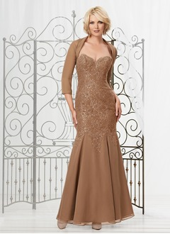 Trumpet/Mermaid Strapless Sweetheart Floor-Length Chiffon Mother of the Bride Dress With Lace Beading Appliques Lace