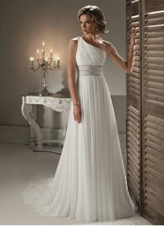 A-Line/Princess One-Shoulder Chapel Train Chiffon Wedding Dress With Ruffle Beading