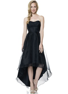 A-Line/Princess Strapless Sweetheart Asymmetrical Organza Bridesmaid Dress