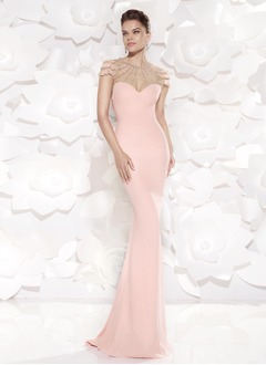 Sheath/Column Scoop Neck Sweep Train Charmeuse Prom Dress With Beading Appliques Lace