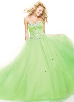 Ball-Gown Strapless Sweetheart Floor-Length Tulle Prom Dress With Ruffle Beading