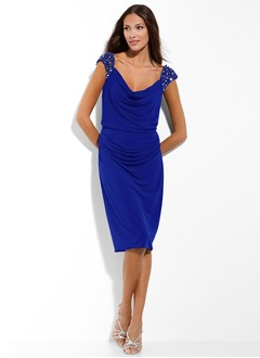 Sheath/Column Cowl Neck Knee-Length Chiffon Cocktail Dress With Ruffle Beading