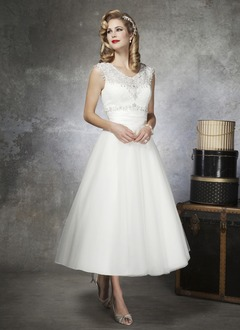 A-Line/Princess Scoop Neck Ankle-Length Tulle Charmeuse Wedding Dress With Lace Beading