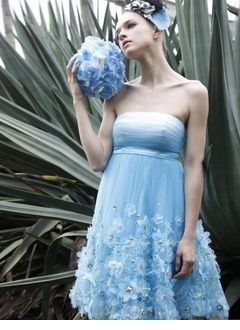 Empire Strapless Knee-Length Tulle Charmeuse Homecoming Dress With Ruffle Beading Flower(s)