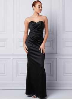 Trumpet/Mermaid Strapless Sweetheart Floor-Length Satin Evening Dress With Ruffle