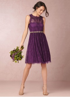 A-Line/Princess Scoop Neck Knee-Length Lace Bridesmaid Dress  ...