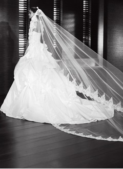 One-tier Cathedral Bridal Veils With Lace Applique Edge (00605003659)