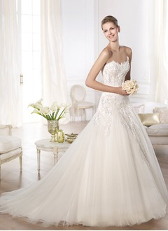 Ball-Gown Strapless Sweetheart Cathedral Train Tulle Lace Wedding Dress With Beading Sequins