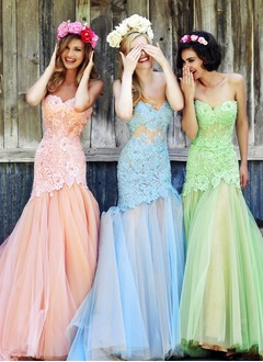 Trumpet/Mermaid Strapless Sweetheart Sweep Train Tulle Prom Dress With Appliques Lace