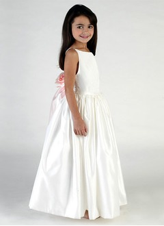 A-Line/Princess Scoop Neck Floor-Length Satin Flower Girl Dress With Sash