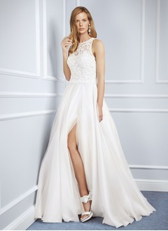 A-Line/Princess Scoop Neck Floor-Length Organza Tulle Lace Wedding Dress With Split Front