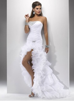 Trumpet/Mermaid Strapless Asymmetrical Organza Prom Dress With Ruffle Beading Cascading Ruffles