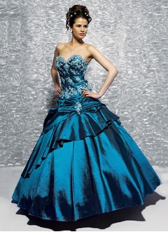 Ball-Gown Strapless Sweetheart Floor-Length Taffeta Quinceanera Dress With Embroidered Beading Cascading Ruffles