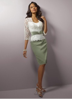 Sheath/Column Sweetheart Knee-Length Satin Lace Evening Dress With Beading