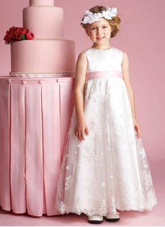 A-Line/Princess Scoop Neck Floor-Length Satin Lace Flower Girl Dress With Sash