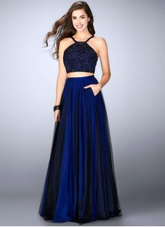 A-Line/Princess Halter Floor-Length Tulle Lace Prom Dress With Ruffle Beading