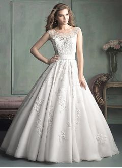 Ball-Gown Scoop Neck Cathedral Train Satin Tulle Wedding Dress With Beading Appliques Lace