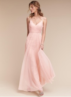 A-Line/Princess V-neck Floor-Length Tulle Bridesmaid Dress With Ruffle Appliques Lace