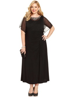 A-Line/Princess Scoop Neck Tea-Length Jersey Mother of the Bride Dress With Beading