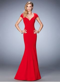 Trumpet/Mermaid Sweetheart Sweep Train Jersey Evening Dress