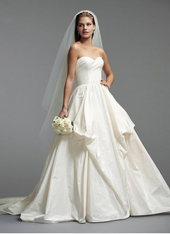 Ball-Gown Strapless Sweetheart Chapel Train Taffeta Wedding Dress With Flower(s)