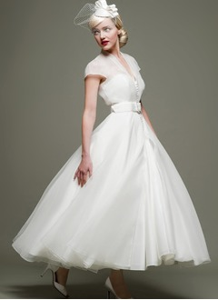 A-Line/Princess V-neck Ankle-Length Organza Wedding Dress With Sash