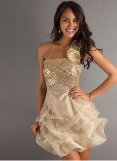Empire One-Shoulder Short/Mini Organza Sequined Prom Dress With Ruffle