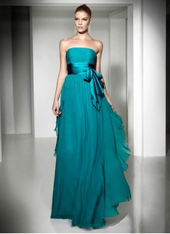 A-Line/Princess Strapless Floor-Length Chiffon Charmeuse Prom Dress With Ruffle Bow(s) Cascading Ruffles