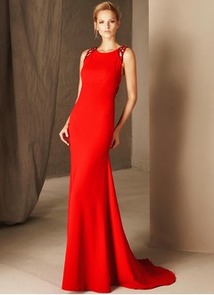 Trumpet/Mermaid Scoop Neck Sweep Train Charmeuse Evening Dress With Beading