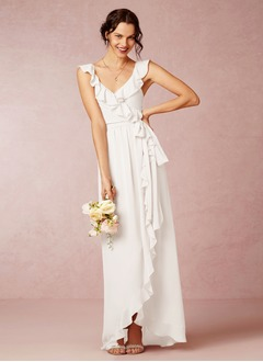 A-Line/Princess V-neck Asymmetrical Chiffon Bridesmaid Dress  ...