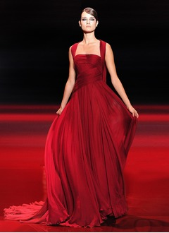 A-Line/Princess Square Neckline Court Train Chiffon Evening Dress With Ruffle