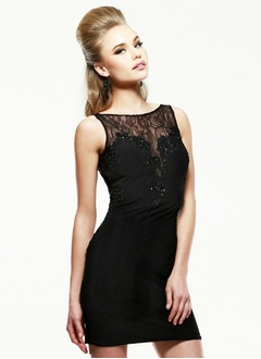 Sheath/Column Scoop Neck Short/Mini Chiffon Lace Cocktail Dress With Beading