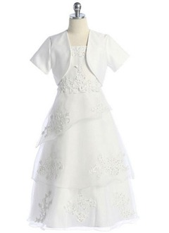 A-Line/Princess Strapless Floor-Length Organza Satin Flower Girl Dress
