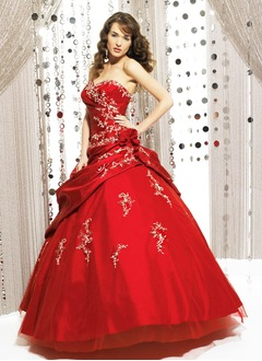 Ball-Gown Strapless Sweetheart Floor-Length Taffeta Organza Quinceanera Dress With Ruffle Lace Flower(s)