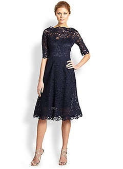 A-Line/Princess Scoop Neck Knee-Length Lace Mother of the Bride Dress With Lace