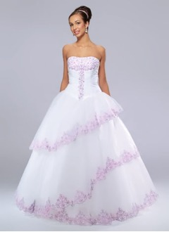 Ball-Gown Strapless Floor-Length Satin Tulle Quinceanera Dress With Ruffle Lace Beading