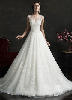 Ball-Gown Scoop Neck Court Train Tulle Lace Wedding Dress With Appliques Lace