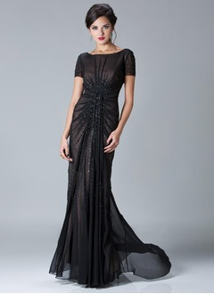 Sheath/Column Scoop Neck Sweep Train Chiffon Mother of the Bride Dress With Ruffle Beading