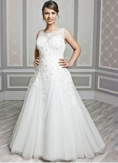 A-Line/Princess Scoop Neck Chapel Train Tulle Wedding Dress With Beading Appliques Lace