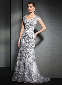 Trumpet/Mermaid V-neck Sweep Train Satin Tulle Mother of the Bride Dress With Beading Appliques Lace Sequins