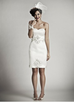 Sheath/Column Strapless Sweetheart Knee-Length Satin Wedding Dress With Beading Sequins